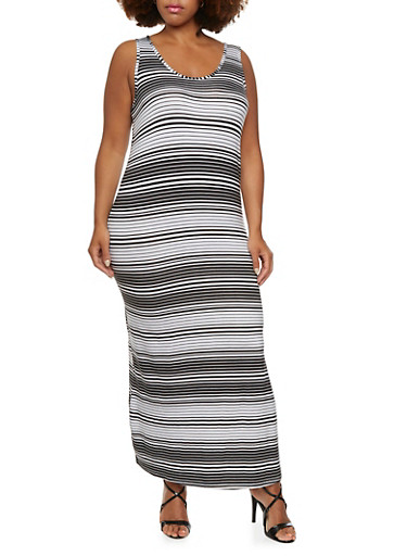 Plus Size Striped Maxi Dress with Side Slit,BLACK/WHITE,large