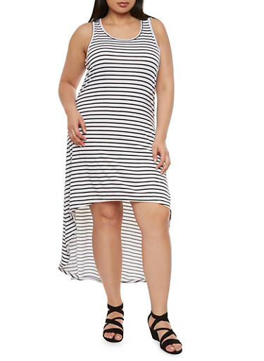 Plus Size Striped Midi Dress with High-Low Hem,WHT-BLK,large