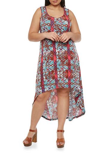 Plus Size High-Low Maxi Dress with Crochet Back,MULTI COLOR,large