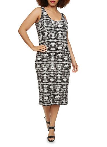 Plus Size Bodycon Midi Tank Dress with Tie Dye Print,BLACK,large