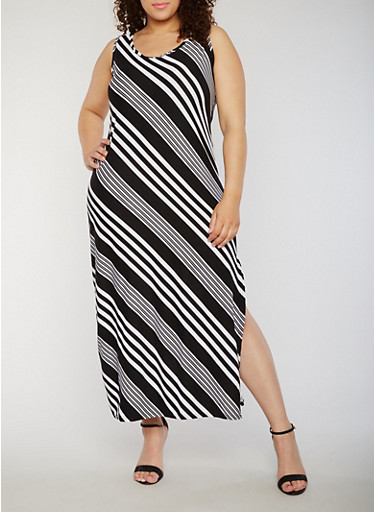Plus Size Striped Sleeveless Maxi Dress with Side Slit,BLACK/WHITE,large
