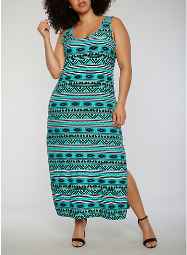 Plus Size Printed Side Slit Maxi Dress,JADE,large
