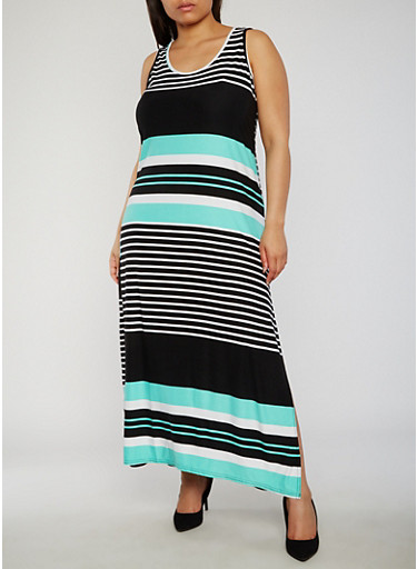 Plus Size Striped Scoop Neck Tank Maxi Dress,MINT,large