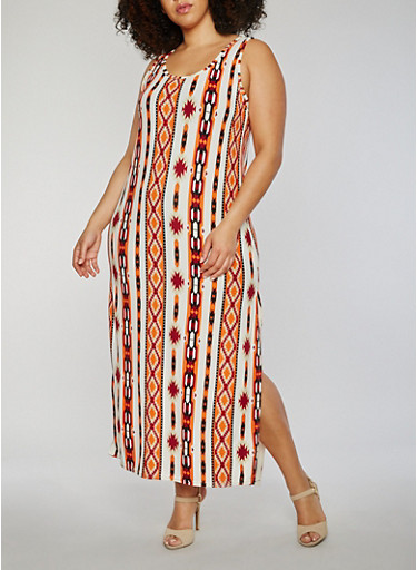Plus Size Sleeveless Printed Scoop Neck Maxi Dress,BONE/RUST,large