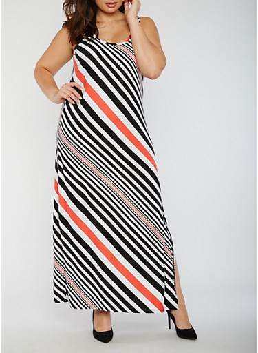 Plus Size Striped Tank Dress,BLK/CORAL,large