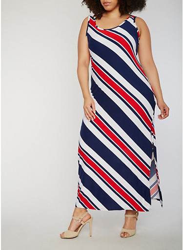 Plus Size Sleeveless Bias Striped Maxi Dress,NAVY/RED,large
