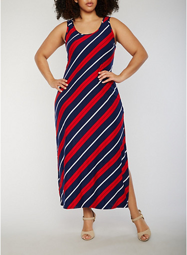 Plus Size Striped Asymmetrical Sleeveless Side Slit Maxi Dress,NAVY,large