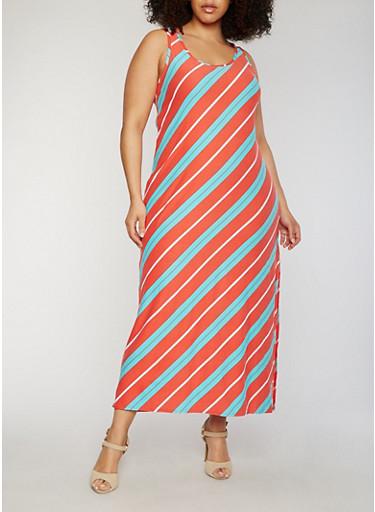 Plus Size Striped Asymmetrical Sleeveless Side Slit Maxi Dress,CORAL,large