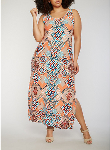 Plus Size Soft Knit Scoop Neck Printed Maxi Dress,PEACH/BLUE,large