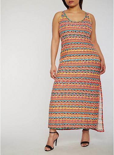 Plus Size Printed Maxi Dress,ORANGE,large