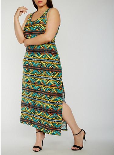 Plus Size Abstract Print Maxi Tank Dress,YELLOW/ORANGE,large