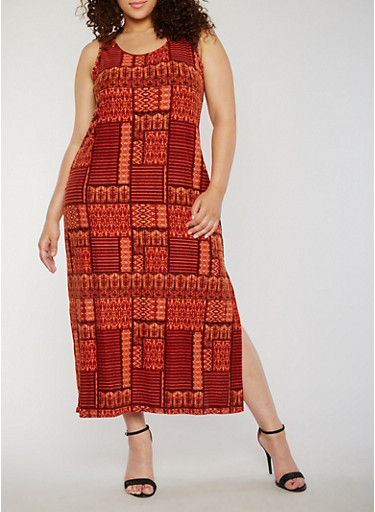 Plus Size Sleeveless Printed Scoop Neck Side Slit Dress,RUST,large
