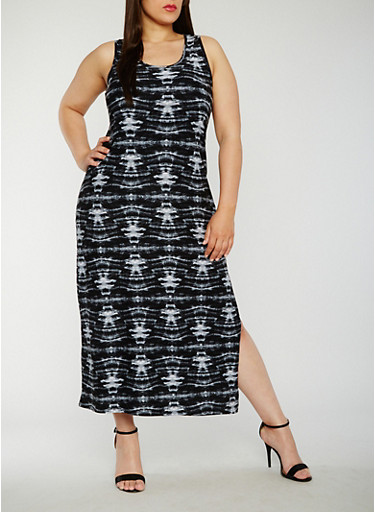 Plus Size Tie Dye Maxi Tank Dress,BLACK,large