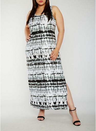 Plus Size Tie Dye Maxi Tank Dress,BLACK,large