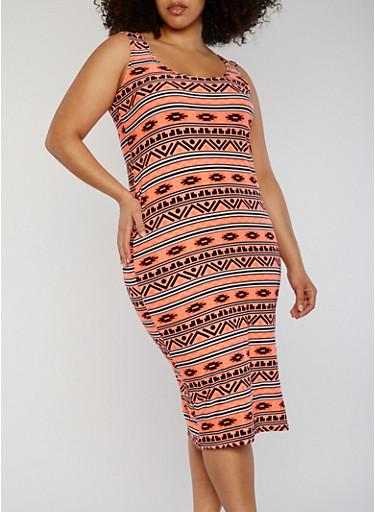 Plus Size Aztec Print Midi Dress,CORAL/BLK,large