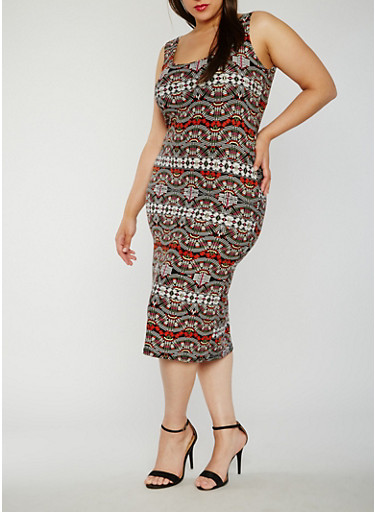 Plus Size Printed Soft Knit Midi Dress,BLACK,large