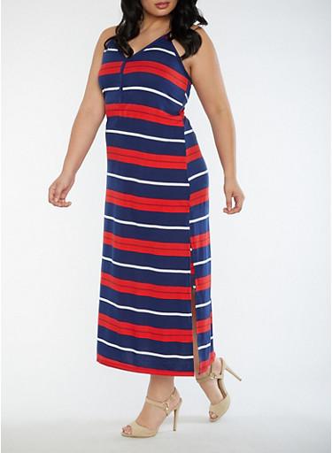 Plus Size Soft Knit Maxi Dress,NAVY,large