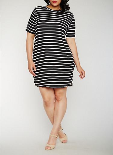 Plus Size Striped Mid Length T Shirt Dress,BLACK/WHITE,large