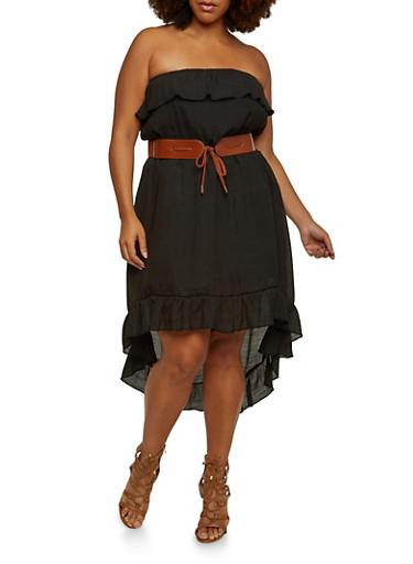 Plus Size Strapless Dress with High Low Hem,BLACK,large