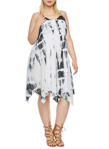 Plus Size Tie-Dye Dress with Eyelet Lace Paneling,WHT-BLK,large