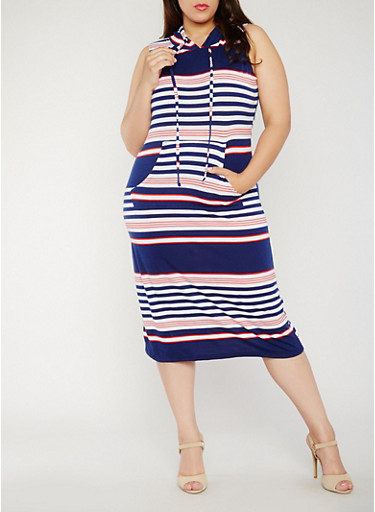 Plus Size Striped Americana Dress with Hood,NAVY,large