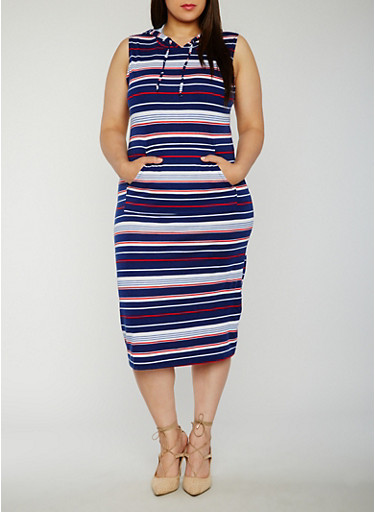 Plus Size Sleeveless Striped Midi Dress with Hood,NAVY,large