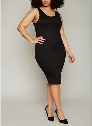 Plus Size Ribbed Knit Midi Tank Dress,BLACK,large