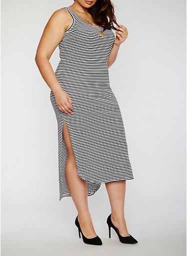 Plus Size Striped High Low Tank Dress with Necklace,BLACK/WHITE,large