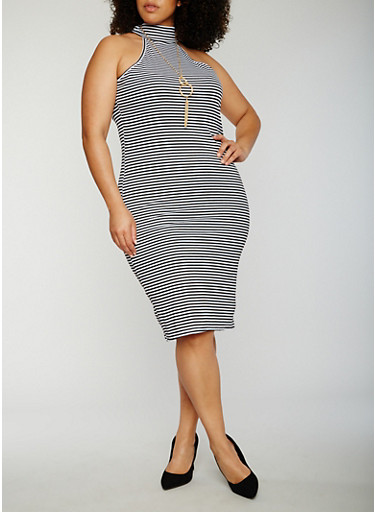 Plus Size Striped Sleeveless Mock Neck Dress,BLACK/WHITE,large