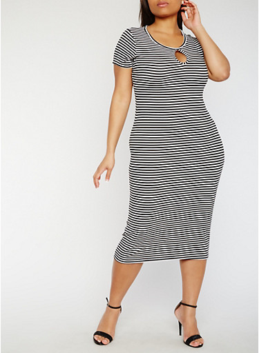 Plus Size Short Sleeve Striped Midi Dress,BLACK/WHITE,large