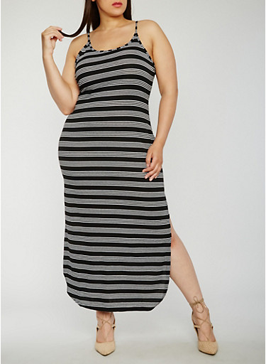 Plus Size Scoop Neck Striped Maxi Dress,BLACK/WHITE,large