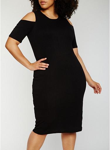 Plus Size Rib Knit Cold Shoulder Midi Dress,BLACK,large