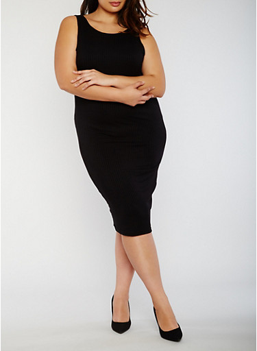Plus Size Rib Knit Midi Dress with Caged Back,BLACK,large