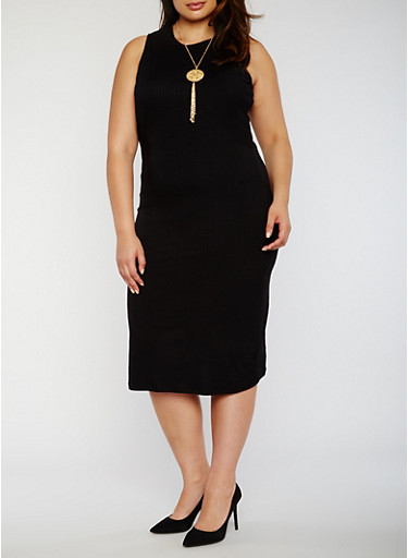 Plus Size Rib Knit Bodycon Dress with Necklace,BLACK,large