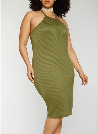 Plus Size Rib Knit Bodycon Dress,OLIVE,large