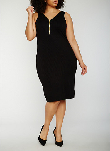 Plus Size Sleeveless Rib Knit Zip Dress,BLACK,large