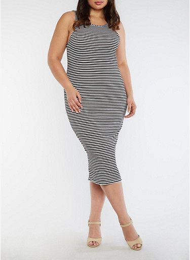 Plus Size Striped Rib Knit Tank Dress,BLACK,large