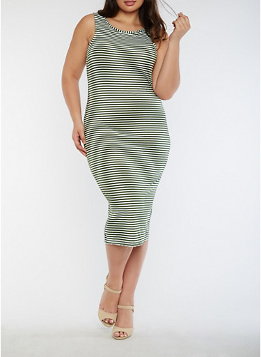 Plus Size Striped Rib Knit Tank Dress,OLIVE,large