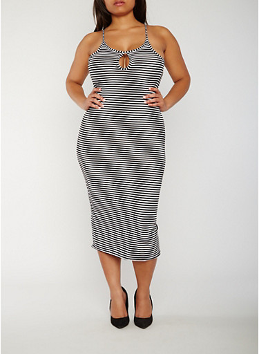 Plus Size Sleeveless Striped Rib Knit Bodycon Dress,BLACK,large