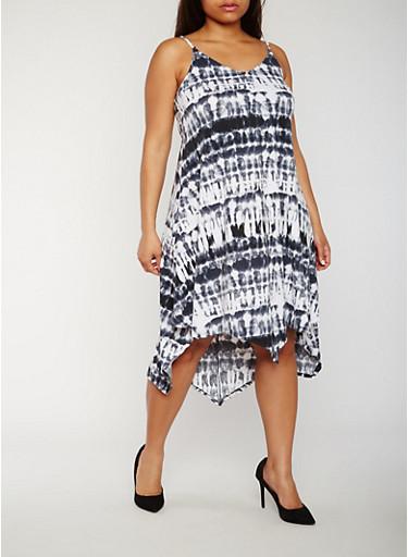 Plus Size Spaghetti Strap Midi Dress,BLACK,large