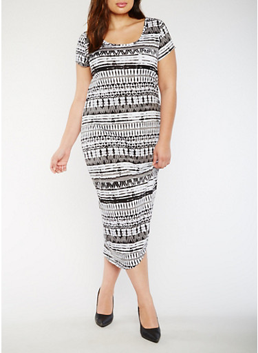 Plus Size Printed Maxi Dress with Ruched Side,BLACK/WHITE,large