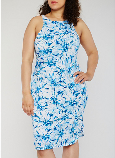 Plus Size Tie Dye Tank Dress with Side Slits,BLUE,large