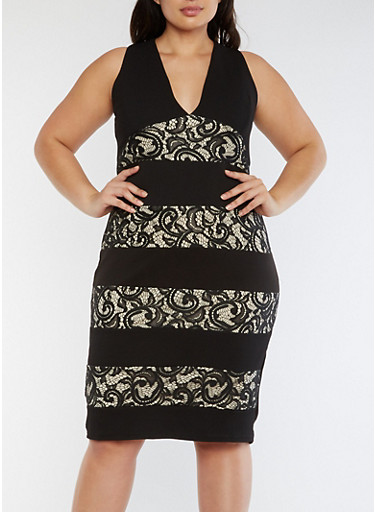 Plus Size Midi Dress with Lace Inserts,BLACK/SAND,large