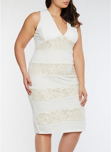 Plus Size Midi Dress with Lace Inserts,IVORY/SAND,large