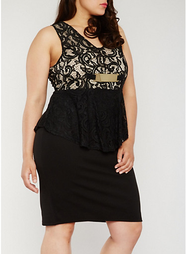 Plus Size Lace Peplum Dress,BLACK,large