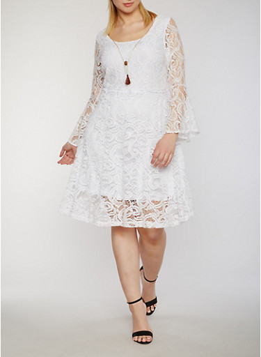 Plus Size Lace Skater Dress with Necklace,WHITE,large