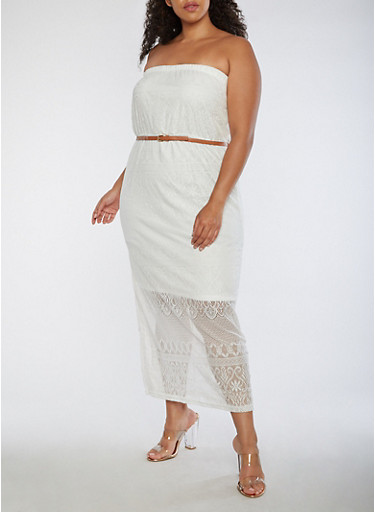 Plus Size Lace Maxi Dress,IVORY,large