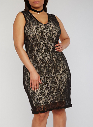 Plus Size Sleeveless Lace Sheath Dress,BLACK,large
