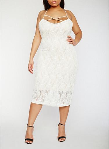 Plus Size Lace Caged Spaghetti Strap Dress,IVORY/NUDE,large