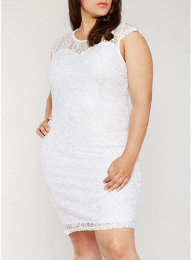 Plus Size Floral Lace Sheath Dress,WHITE,large